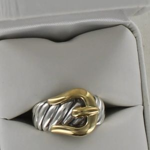 SOLD-David Yurman Silver Gold Belt Buckle Band